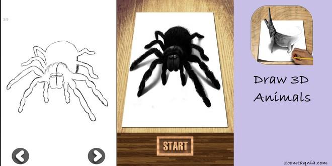 تعليم رسم الحيوانات بسهولة مع تطبيق How to Draw Animals 3D