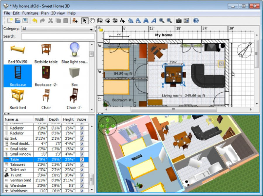 برنامج تصميم المنزل من الداخل و الديكور Sweet Home 3D   زووم على